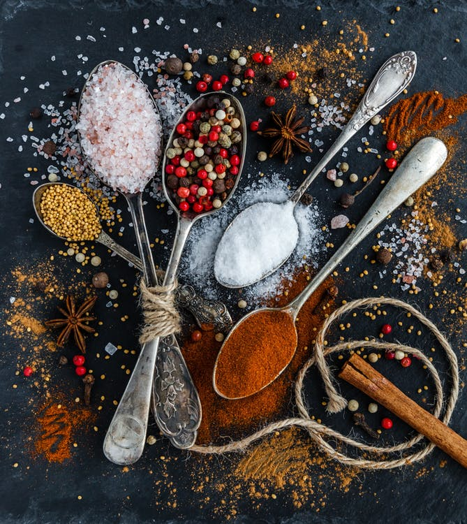 paleo flavoring options, organic spices, grapeseed oil, organic spices, healthy sweetners